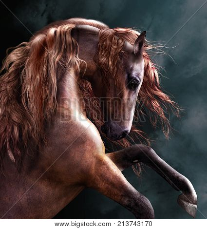 3D render of a horse rearing up with a dramatic long mane.