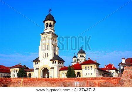 Coronation Orthodox Cathedral tower and Alba Carolina Fortress, Alba Iulia, Transylvania, Romania