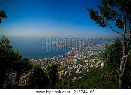 Aerial panoramic view to Jounieh city and bay from Harissa mountain Lebanon