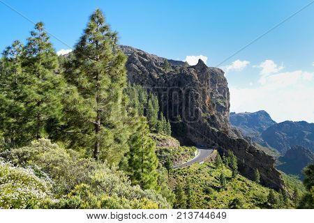 Twisty Rroad in Mountains in Gran Canaria. Spain.