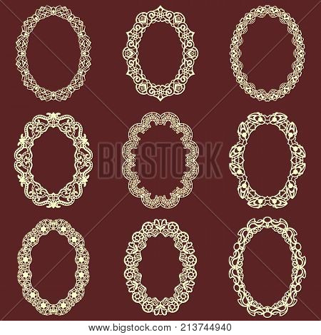 Set of oval vintage frames isolated background. Vector design elements that can be cut with a laser. A set of frames made of decorative lace borders.