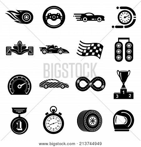 Car race icons set. Simple illustration of 16 car race vector icons for web