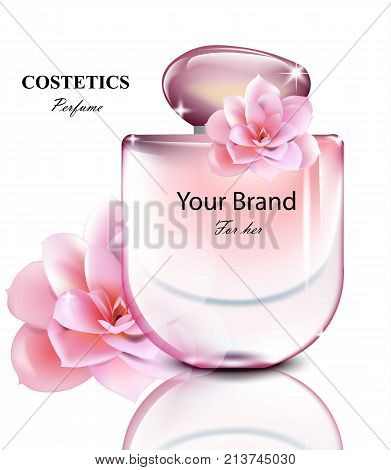 Women perfume bottle with lily fragrance. Realistic Vector Product packaging design poster