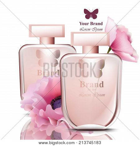 Women perfume bottle with flowers fragrance. Realistic Vector Product packaging design poster