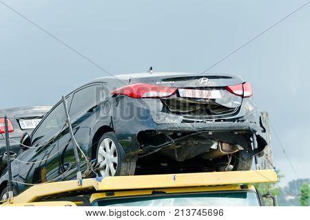 Batumi, Georgia - 5 July 2017: Broken Black Car On The Tow Truck