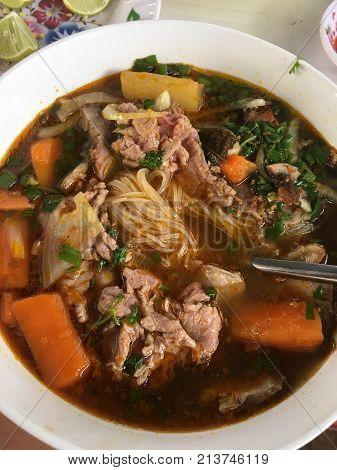 Bun Bo Hue, Bun Bo, Vietnamese noodle. A bowl of beef rice vermicelli soup, vietnamese noodle cuisine in Hue, Vietnam
