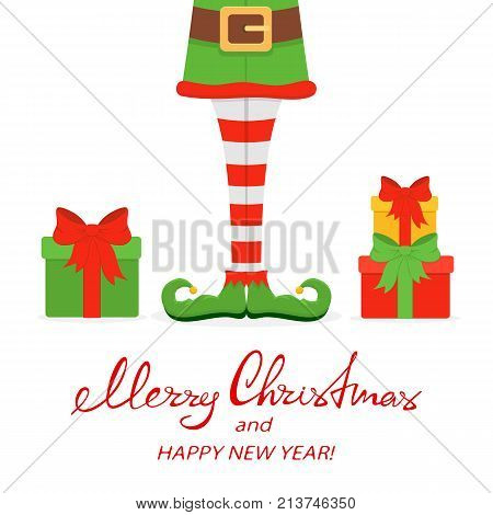 Lettering Merry Christmas and Happy New Year with elf legs in green shoes and gifts, isolated on white background, illustration.