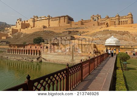 Jaipur, India, October 27, 2017 : Amber Fort Is The Principal Tourist Attraction In The Jaipur Area.