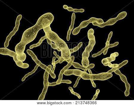 Viruses under microscope. Fast multiplication of bacteria. Infection and microbe. Isolated on black background. 3d render