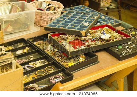 Vintage jewels at flea market