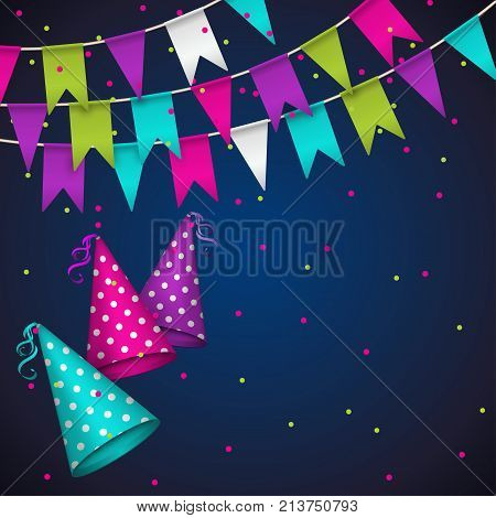 Colorful garlands on blue background. Party colorful bunting flags. Vector illustration party pennants with different forms. Birthday decoration. Hanging colored flags and soaring confetti and dotted party hat