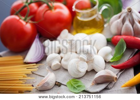 Mushroom champignon and all you need to make sauce - food and drink