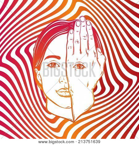Vector hand drawn illustration of girl with eye on hand on the hypnotic background. Template for card poster banner print for t-shirt.