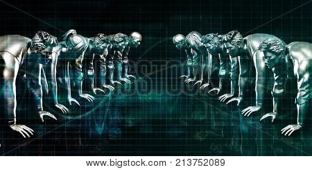 Business Competition with People in a Row Starting Line 3D Render