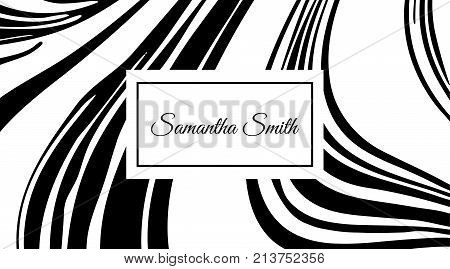 Creative Modern Business Card With Abstract Marble Texture. Vector Design Concept. For Stylist, Make
