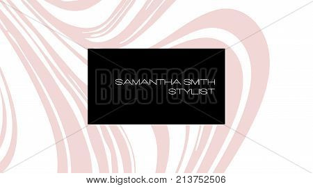 Creative Modern Stylist Business Card, With Abstract Pink Marble Texture. Vector Design Concept. For