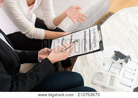 Business Agent Woman Talking With Customer