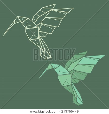 Set vector simple illustration paper origami and contour drawing of humming bird (colibri).