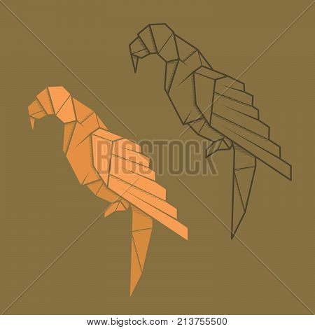 Set vector simple illustration paper origami and contour drawing of parrot.