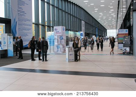 St. Petersburg, Russia - 3 October, People in the lobby of the Expo forum, 3 October, 2017. Expo Forum venue of the St. Petersburg Gas Forum.
