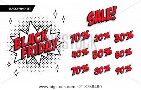 Black Friday sale set. Black friday and sale inscription and all percent numbers. Black and red colors. Pop-art comics style web banner, flash animation. Vector illustration