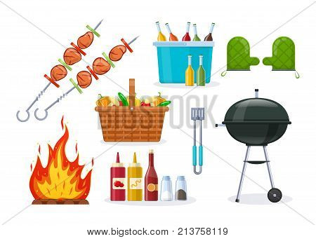 Set of objects for barbecue party. Mangal with barbecue, cutlery, grill meat, vegetables, coals, fire, baskets with drinks, food, sauces, home dinner, restaurant party Illustration in cartoon style