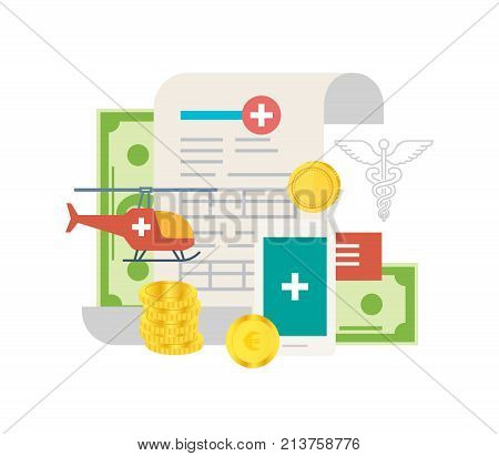 Investments in modern medicine and health care. Development of medicine, growth of indicators, improving quality of service. Paid medicine, private clinics. Medical insurance. Vector illustration.