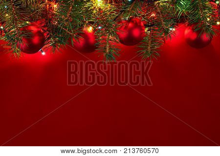 Christmas Background With Xmas Tree And Sparkle Bokeh Lights On Wooden Canvas Background. Merry Chri