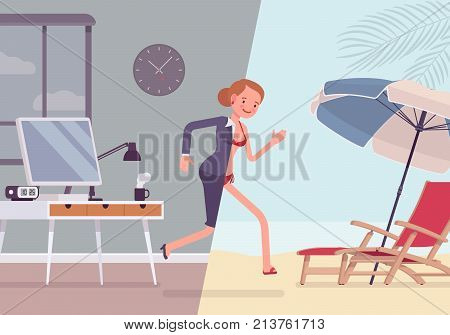 Woman leaps to vacation. Tired, overworked and exhausted female office worker runs into relax area of sunny beach. Vector flat style cartoon business concept illustration