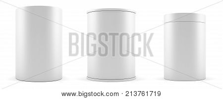 Set of empty white realistic cylinders, podiums. 3d illustration
