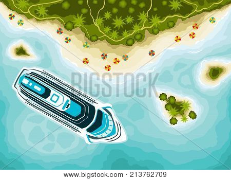 Tropical islands top view. Beach, island, cruise ship, view from above