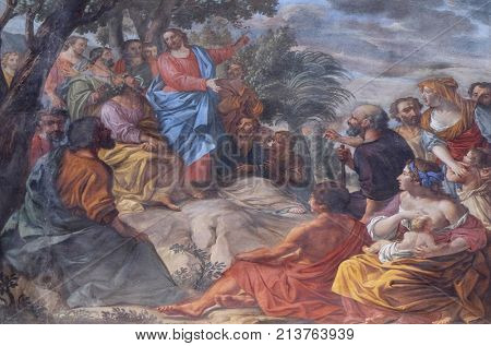 MANTUA, ITALY - JUNE 04: Sermon on the Mount, fresco in the basilica of Saint Andrew in Mantua, Italy on June 04, 2017.