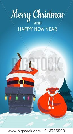 cheerful Santa Claus on the roof descends into the chimney. Christmas design of a winter holiday poster, postcards, for banners, posters, brochures, leaflets, Place for your text. Vector illustration