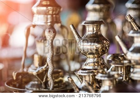 Brass utensils shop with handicrafts and souvenirs in Kathmandu market, Nepal