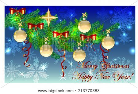 Rectangular Blue Christmas Background With Snowflakes, Coniferous Branches, Decorated With Red Balls