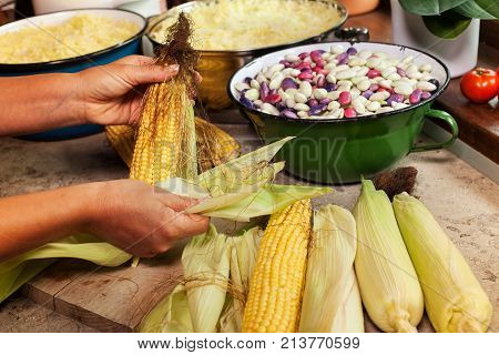 Woman preparing fresh produce for cooking or processing - cleaning and husking corn cobs