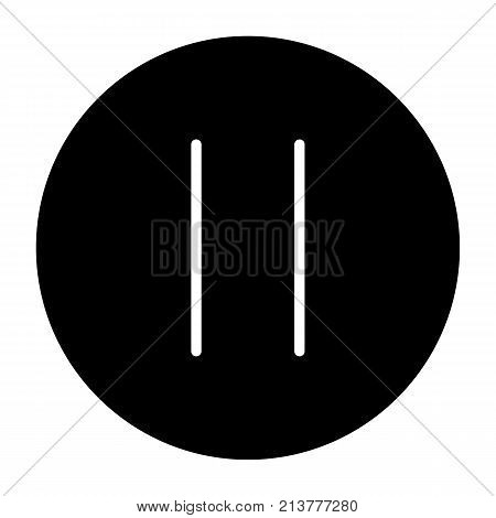 Pause button. 96x96 vector silhouette icon isolated on white background