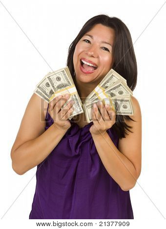 Excited Attractive Multiethnic Woman Holding Hundreds of Dollars Isolated on a White Background.