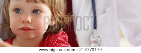 Little child at pediatrician reception. Physical exam appointment cute infant portrait, baby aid healthy lifestyle ward round child sickness clinic test high quality and trust concept