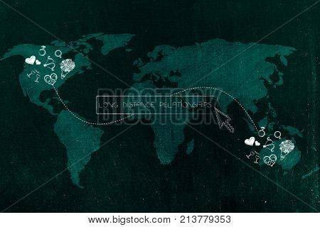 Love-themed Icons Connected By Dashed Line Across Continents And Long Distance Relationship Text