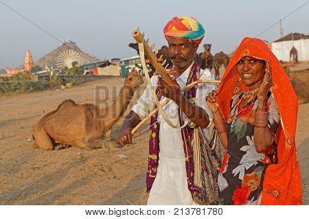 Pushkar, India, October 28, 2017 : Musicians During The Festival. Pushkar Camel Fair Is One Of The L