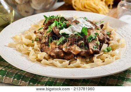 Homemade Beef Stroganoff With Pasta
