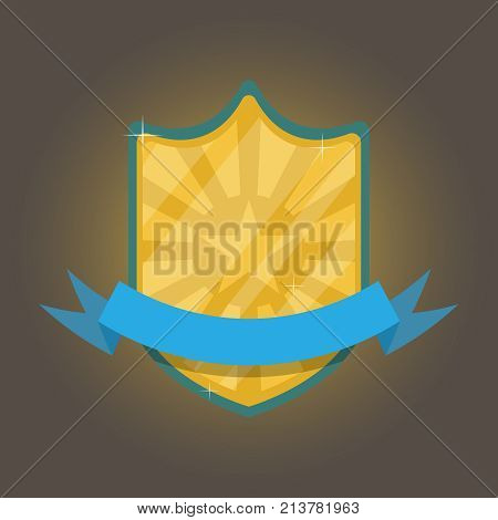 Gold and shiny badge with blue ribbon for the winner. The concept of victory. Vector illustration.