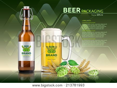Vector Realistic beer bottle and glass. Brand packaging template. Logo designs. Green background