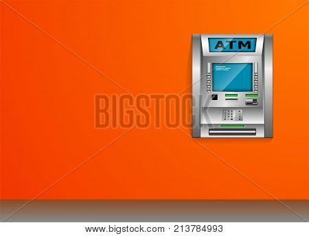 ATM - Automated teller machine. Orange wall. Metal construction. High detail. 3D