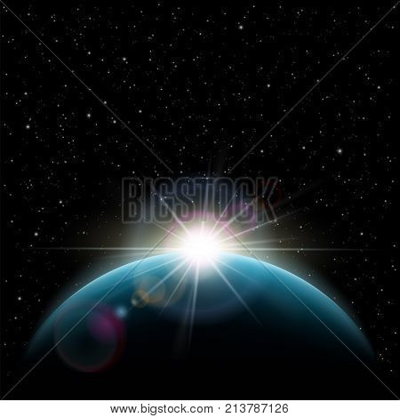 Exoplanets in outer space. Sunrise stars the sun over the planet earth. Stock vector illustration.