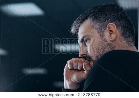 Nervous Man In Rehab Center