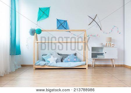 Blue Kites In Boy's Bedroom
