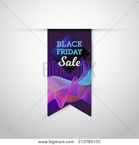 Vector illustration realistic colorful flag with Black Friday Sale text on the abstract vawy background. Eps 10 file.