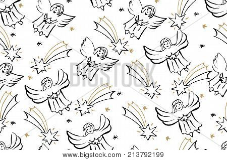 Christmas Seamless Pattern With Angels And Star of Bethlehem. Vector Holiday Background For Wrapping Christmas Decorations.